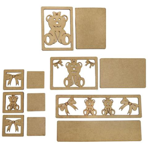 Imagem de Kit Higiene Bebê em MDF Ursinha com Laço 6 peças - Palácio da Arte