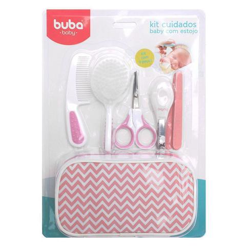 Imagem de Kit Higiene Buba Cuidados para Bebê com Estojo Branco Rosa