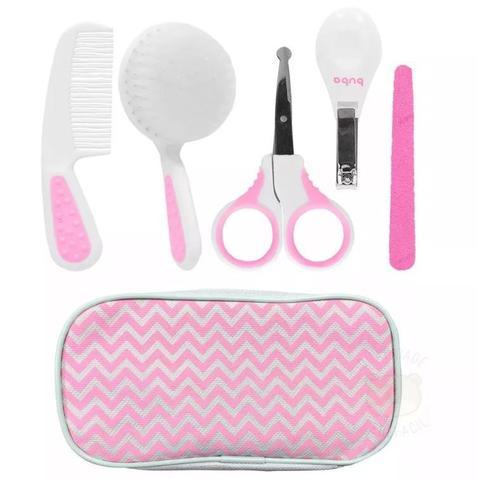 Imagem de Kit Higiene Cuidados Baby Com Estojo Menina Branco Rosa Buba