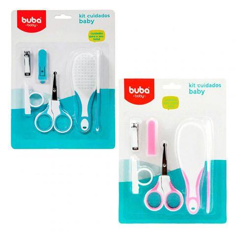 Imagem de Kit Higiene e Cuidados Buba Baby Rosa Recém-nascido 4 Peças Escova Pente Tesoura Cortador de Unha