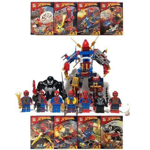 Imagem de Kit Homem Aranha Longe De Casa + Venom Big + Robô 8x Bonecos Blocos de Montar SY-1183