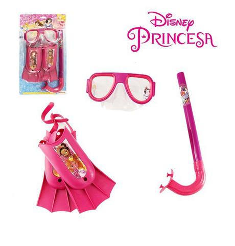 Imagem de Kit infantil máscara de mergulho com snorkel e nadadeiras princesas disney