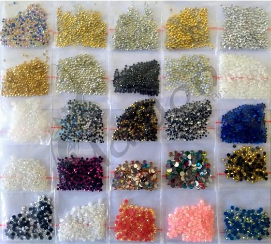 Imagem de Kit Iniciante Completo Pedrarias para fazer Joias de Unhas Cartões Caviar Base Goma Laca Ref. 7792