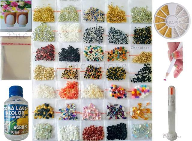 Imagem de Kit Iniciante Pedrarias Joias de Unhas Estojinho c/ Caviar Goma Laca Cartões Filha Única - Ref. 5500