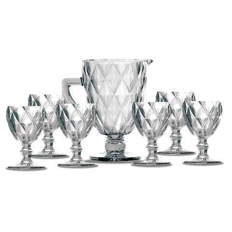 Imagem de Kit Jarra 1 L + 6 Taças Diamante Clear Vidro Class Home