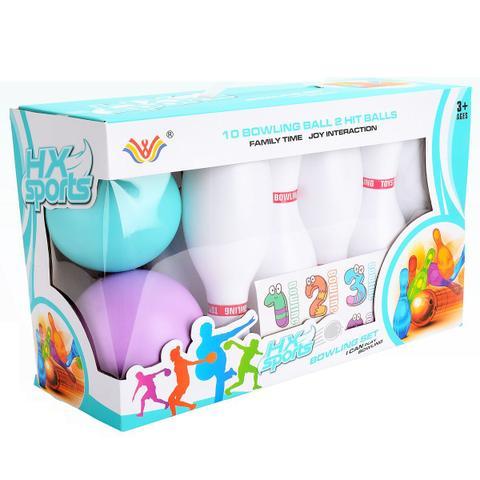 Imagem de Kit Jogo Boliche Brinquedo Infantil 10 Pinos 19cm Bola 9cm