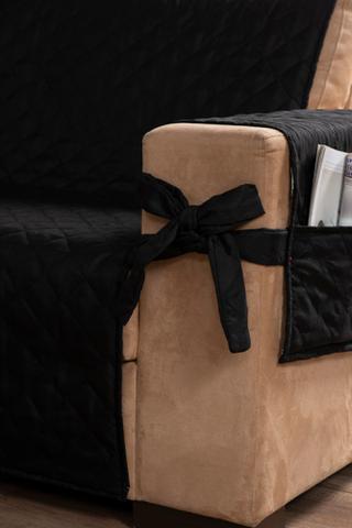 Imagem de kit jogo capa protetor manta para sofá 2 e 3 lugares com laço preto