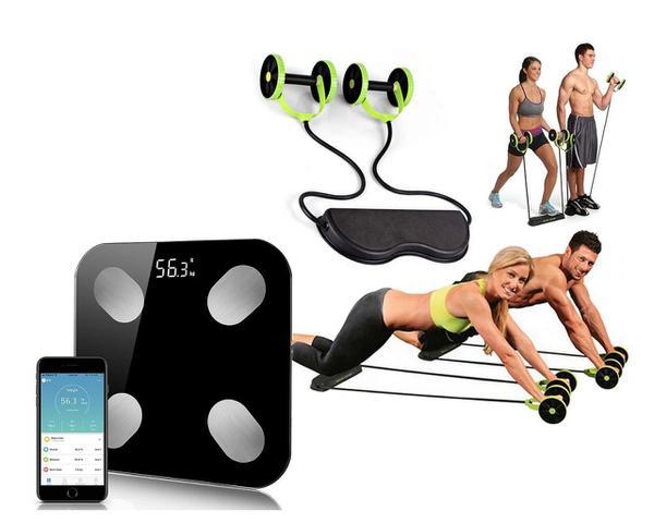 Imagem de KIT Kit Musculação Fitness Completo Academia Em Casa Revoflex + Balança de Bioimpedância Bluetooth
