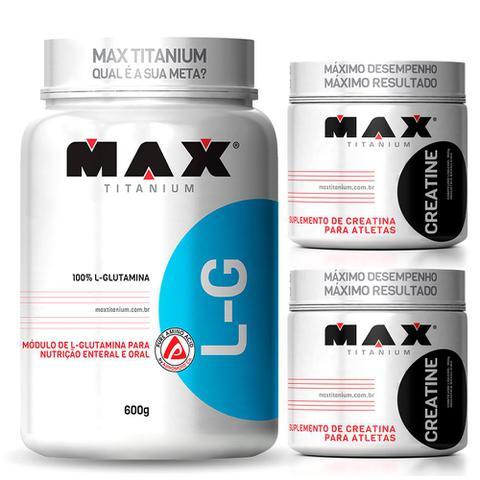 Imagem de Kit L-Glutamina 600g + 2x Creatina 300g (600g) Max Titanium