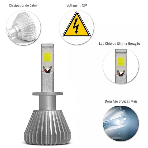 Imagem de Kit Lâmpada Super LED 2D Headlight H1 6000K 12V 6400LM Efeito Xênon Carro Moto