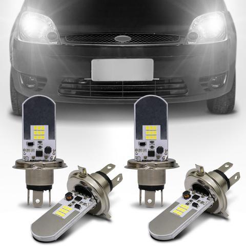 Imagem de Kit Lâmpadas LED Autopoli Ford Fiesta 1999 A 2006 H4 6500K Efeito Xênon Farol Alto e Baixo