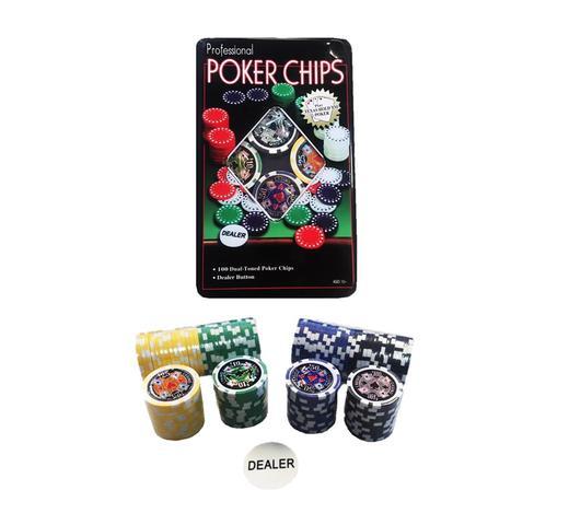 Imagem de Kit Lata 100 Fichas Poker Numeradas Holograficas e Dealer