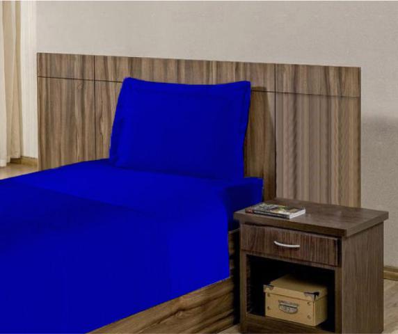 Imagem de Kit Lençol de microfibra com elástico Solteiro 03 peças - Azul Royal