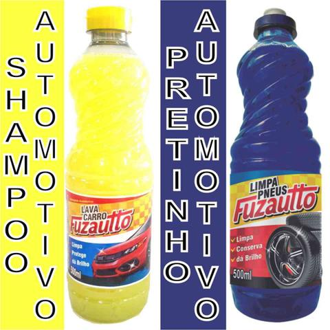 Imagem de Kit limpeza automotiva - cera - pretinho - cera carnaúba - shampoo - silicone - esponja microfibra