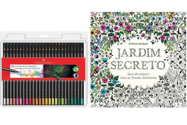 Imagem de Kit - Livro para Colorir Antiestresse Jardim Secreto + Lápis de Cor Faber-Castell SuperSoft 50 Cores