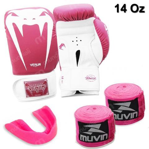 Imagem de Kit Luva Boxe Venum Giant Rosa 14 Oz + 2 Bandagens + Protetor Bucal