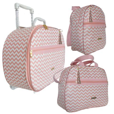 Imagem de Kit Luxo mala maternidade bebê com carrinho, bolsa e mochila Chevron Salmão 3 peças