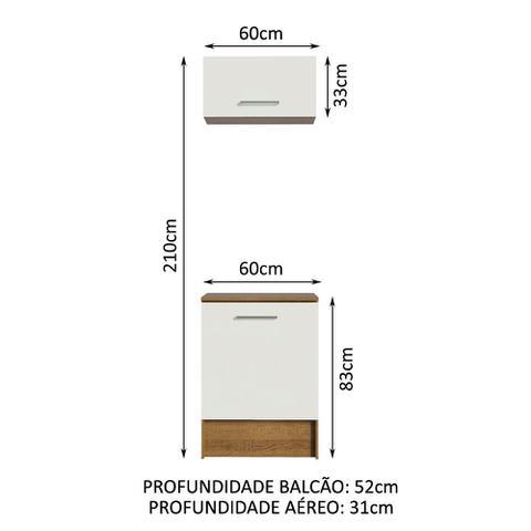 Imagem de Kit Madesa Onix 60 cm 2 Portas com Armário Aéreo e Balcão - Rustic/Branco