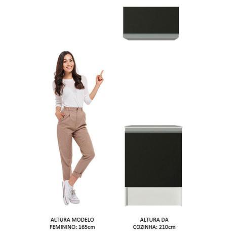 Imagem de Kit Madesa Topazio 60 cm 2 Portas com Armário Aéreo e Balcão - Branco/Preto