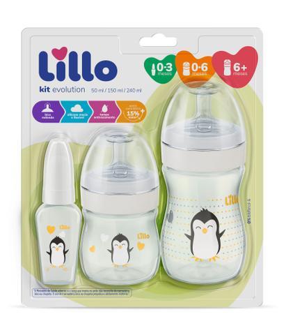 Imagem de Kit Mamadeira Lillo Evolution Primeiros Passos 0-3 meses/ 0-6 meses/ 6+ meses Branco