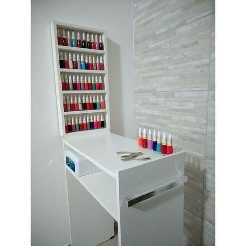 Imagem de KIT Manicure Mesa 60cm + expositor de esmaltes 30x60x6 MDF BRANCO