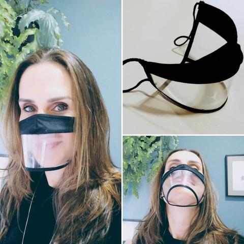 Imagem de Kit Máscara facial Expressão Transparente Preta - M com 3 unidades