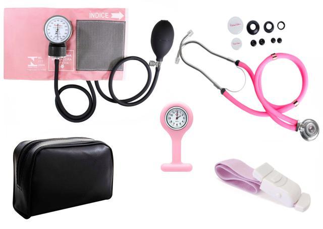Imagem de Kit Material de Enfermagem Aparelho De Pressão com Estetoscópio Rappaport Premium + Garrote Cores + Relógio Lapela