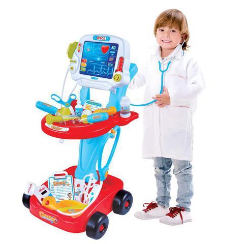 Imagem de Kit médico azul com carrinho e acessórios mini doutor
