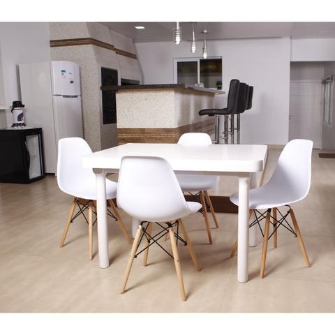 Imagem de Kit Mesa De Jantar França 110x80 Branca + 04 Cadeiras Charles Eames - Branca