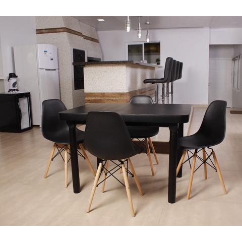 Imagem de Kit Mesa De Jantar França 110x80 Preta + 04 Cadeiras Charles Eames - Preta