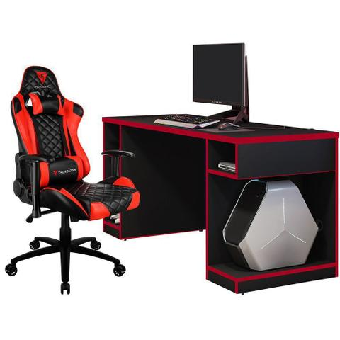 Imagem de Kit Mesa Para PC Gamer Destiny com Cadeira Gamer TGC12 ThunderX3 Preto Vermelho - Lyam Decor