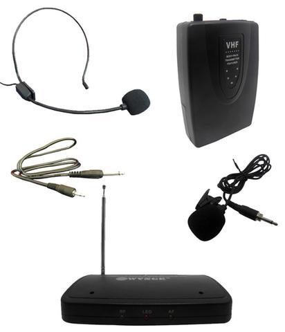 Imagem de Kit Microfone Sem Fio Com Lapela Wireless Auricular Head Set Para Aulas Palestras (BSL-HEL-2)