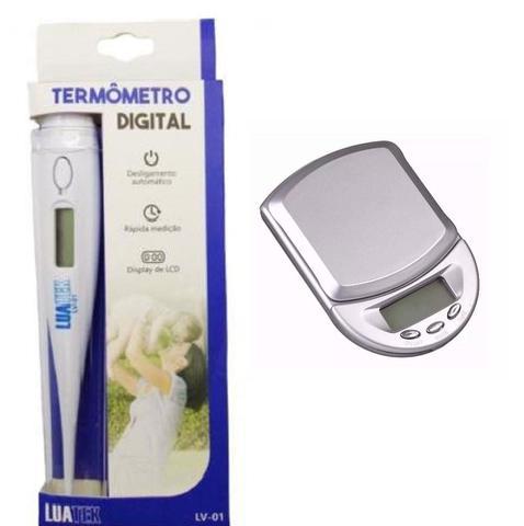 Imagem de Kit Mini Balança de Precisão + Termômetro Digital Clínico Medir Febre