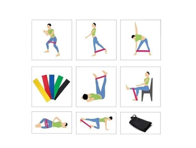 Imagem de Kit Mini Band 5 Faixas elásticas Exercício Funcional pilates ginástica + Bolsa