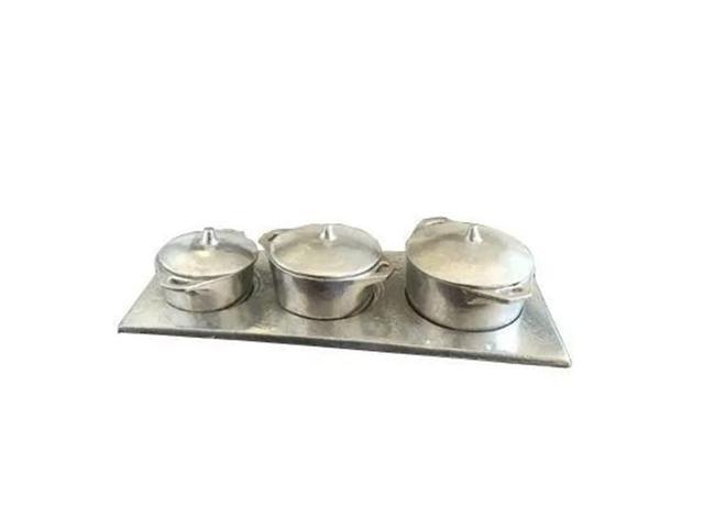 Imagem de Kit Miniatura Caçarolas Alumínio Batido Porções sem Fogão