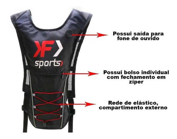 Imagem de kit mochila de hidratação refil d'água 2L impermeável + bolsa de selim pequena kf sports vermelha