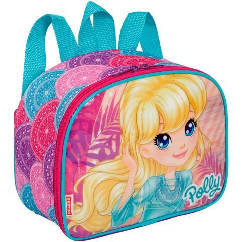 Imagem de Kit mochila Grande rodinhas Polly infantil com lancheira e estojo Sestini