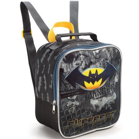 Imagem de Kit Mochila Infantil Escolar Tam G Meninos Com Pote E Garrafa Do Batman Homem Morcego