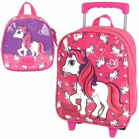 Imagem de Kit mochila rodinha escolar infantil up4you unicornio pink