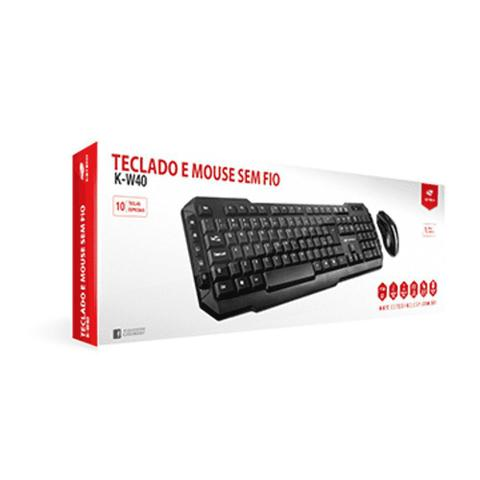 Kit Teclado e Mouse Wireless Óptico Led 1600 Dpis K-w40bk C3 Tech