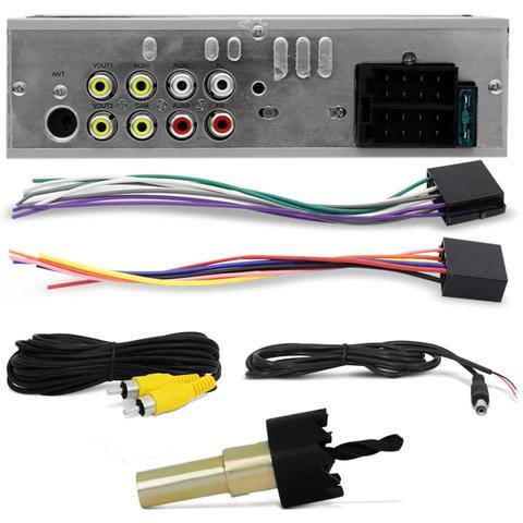 Imagem de Kit MP5 Player Automotivo Shutt Los Angeles 4 Pol Bluetooth USB MP3 MP4 + Câmera Ré Colorida Preta