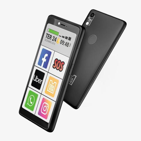Imagem de Kit ObaSmart 3 + Capinha + Pelicula + Fone - Smartphone para 3ª Idade Original Obabox