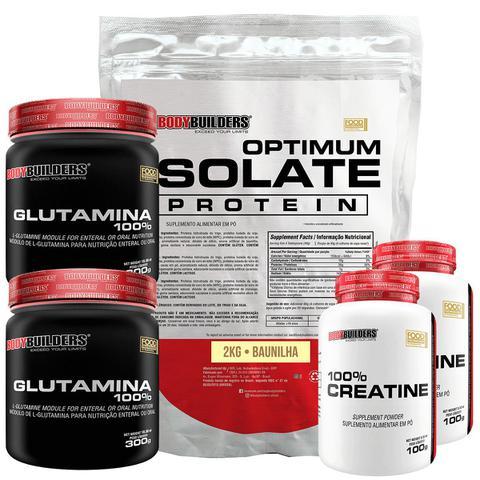 Imagem de Kit Optimum Isolate Whey Protein 2kg  Baunilha  +  2x Creatina 100g + 2x Glutamina 300g - Bodybuilders
