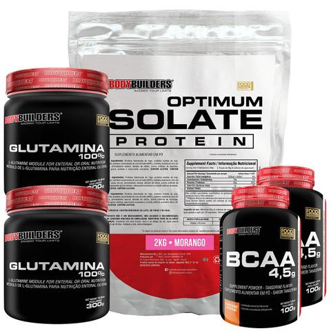 Imagem de Kit Optimum Isolate Whey Protein 2kg  Morango  +  2x Bcaa 100g  +  2x Glutamina 300g  - Bodybuilders