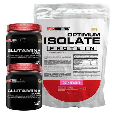 Imagem de Kit Optimum Isolate Whey Protein 2kg  Morango  + 2x  Glutamina 300g +  Coqueteleira - Bodybuilders