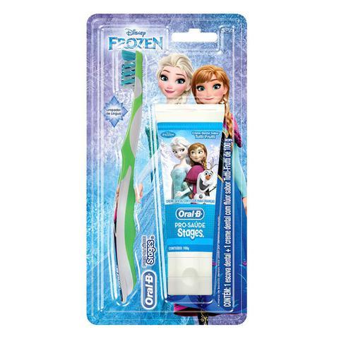 Imagem de Kit Oral-B Stages Frozen Escova Dental + Creme Dental Tutti-Frutti 100g