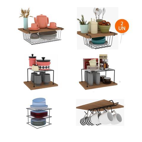 Imagem de Kit Organizador Armário Cozinha Completo em Aço 7 Unidades
