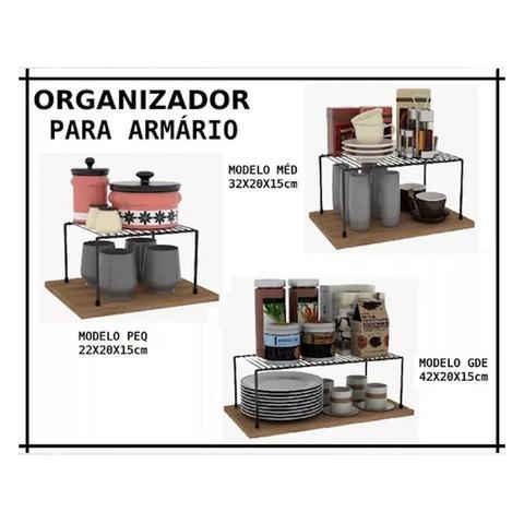 Imagem de Kit Organizador Armário Cozinha Prateleira Aramado Aço 3 Un