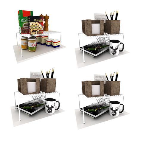 Imagem de Kit Organizador Armário Cozinha Prateleiras Aramado Luxo 4Un