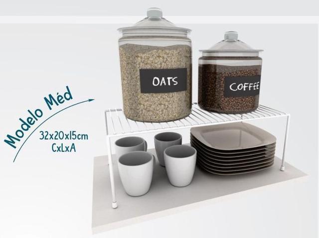 Imagem de Kit Organizador Armário Cozinha Xícara Panela Prato Aço 7 Un